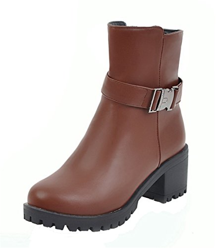 AgeeMi Shoes Women's Kitten-Heels Zipper Buckle Closed-Toe PU Mid-Top Boots EuX92 Brown fRy9a8TPcL