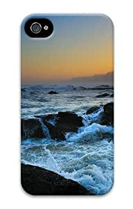 iPhone 4S Case, iPhone 4S Cases - Stormy waves Polycarbonate Hard Case Cover for iPhone 4/4S