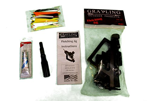 GRAYLING STRAIGHT JIG ARROW & CROSSBOW BOLT FLETCHING KIT - With 60 Pcs 4 INCH Bohning KILLER Vanes - FLETCHING STRIPPER - ADHESIVE GLUE - VANES - REPAIR and BUILD YOUR OWN ARROWS & BOLTS (Fletch Bolts)