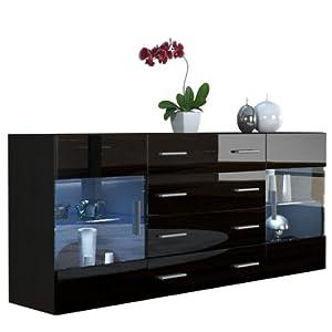 Sideboard chest of drawers bari v2 carcass in black matt for Black kitchen carcasses