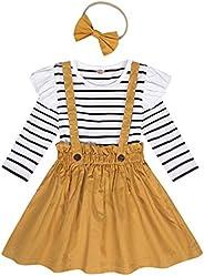Kantenia Toddler Baby Girl 3pcs Clothes Floral Ruffle Shirt+Suspender Skirt Outfits Set
