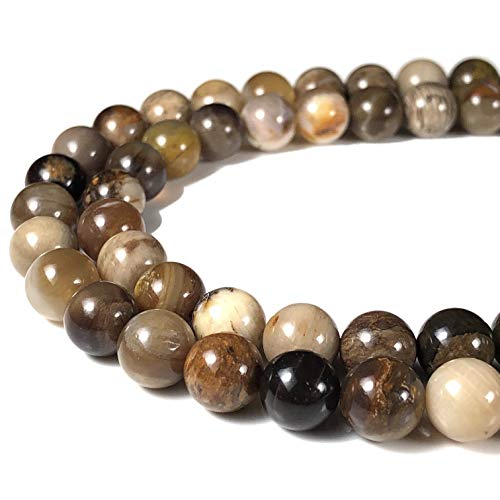 [ABCgems] American Silicified Wood Opalite AKA Petrified Wood 8mm Smooth Round Beads for Beading & Jewelry -