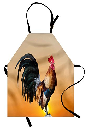 - Ambesonne Rooster Apron, Animal Cockerel on Sunrise Farmhouse Harvest Season Rural Pastoral Nature Scenery, Unisex Kitchen Bib Apron with Adjustable Neck for Cooking Baking Gardening, Beige Orange