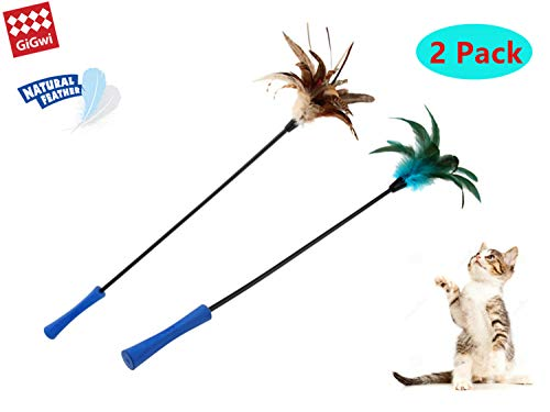 Natural Feather Cat Wand Toys Set, 2 Packs of Blue Feather and Natural Primary Color with Cloth Strip, 25 Inches Long, Premium Interactive Feather Teaser Cat Toys for Exercising Your ()
