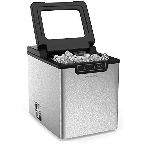 Vremi Countertop Ice Maker - Ice Cubes Ready in 9 Mins - Makes 26 lbs Ice in 24 hrs - Perfect for Water Bottles, Mixed Drinks - Portable Stainless Steel Ice Maker with Ice Scoop and Basket