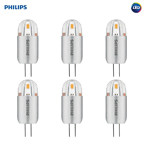Philips LED T3 Capsule Non-Dimmable 12-Volt Accent Light Bulb: 105-Lumen, 3000-Kelvin, 1.2-Watt (10-Watt Equivalent), G4 Base, Bright White, 6-Pack