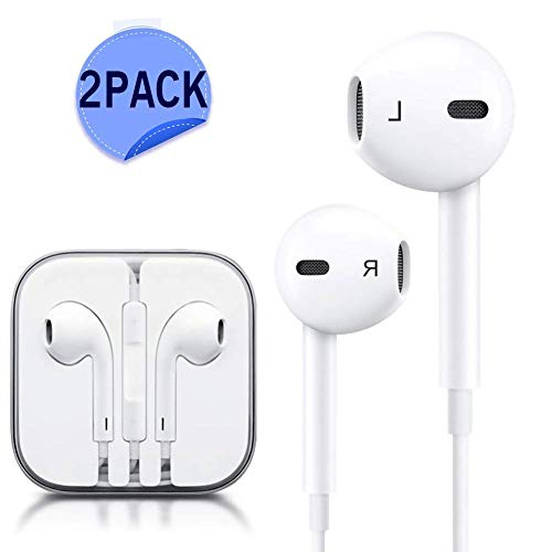 Aux Headphones/Earphones/Earbuds, Sobrilli 3.5mm aux Wired Headphones Noise Isolating Earphones Built-in Microphone & Volume Control Compatible iPhone iPod iPad Samsung/Android / MP3 MP4(2 Pack)