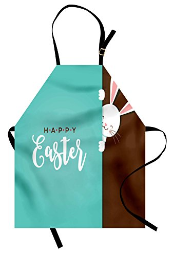 Lunarable Rabbit Apron, Happy Easter Bunny Looking from The Edge of Blue Background Peekaboo Animal, Unisex Kitchen Bib with Adjustable Neck for Cooking Gardening, Adult Size, Seafoam - Apron Easter