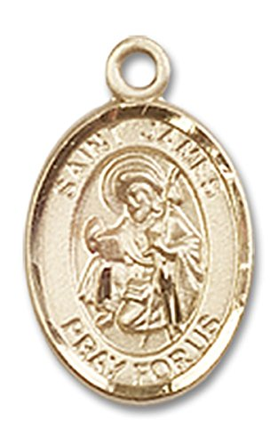 14 Karat Gold Saint James the Greater Medal Petite Charm Pendant, 1/2 ()