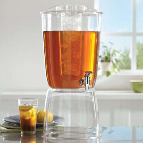 3 Gallon Premium Quality Plastic Beverage Dispenser with Ice Core and Stand (Dispenser Tea Plastic)
