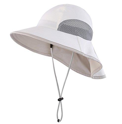 Connectyle Kids Summer Wide Brim UPF 50+ Mesh Sun Hats with Neck Flap UV Sun Protection Bucket Hat White ()