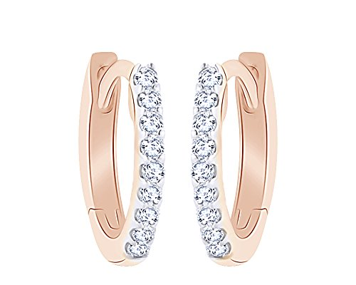 Diamond White Gold Safety Pin (14K Solid Rose Gold White Natural Diamond Hoop Earrings)
