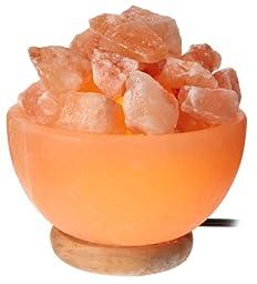 WBM Himalayan Glow Hand Carved bowl  Natural Crystal Himalayan Salt Lamp With Crystal Chunks,  Genuine Neem Wood Base, Bulb And Dimmer Control