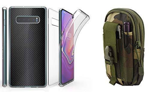Beyond Cell Tri Max Series Compatible with Samsung Galaxy S10 with Slim Full Body Self Healing Screen Protector Case (Carbon Fiber), Travel Pouch (Jungle Camo) and Atom Cloth