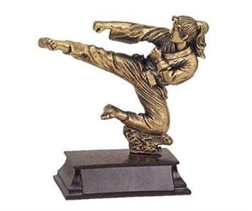 5.5 Inch Small Brass Female Karate High Kick Figurine Statue