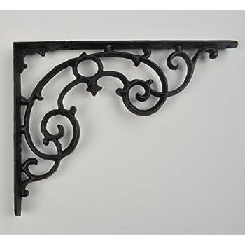 x brackets shelf inch products white iron yester cast black pewter kenrick bracket home large