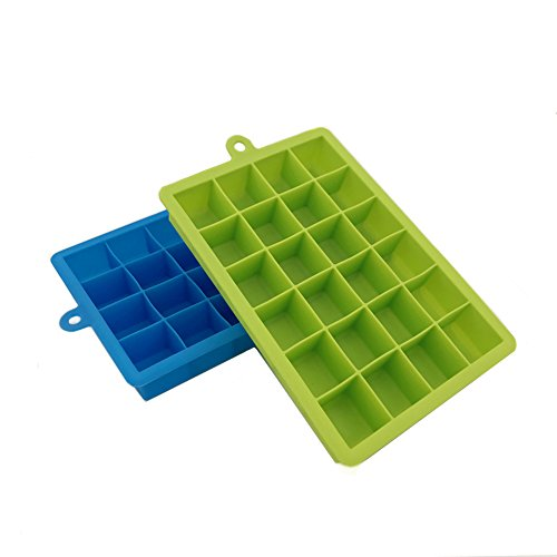 Daixers Silicone Ice Cube Tray Molds,24-Cube Trays,Pack of 2 (Green & Blue) (Drink Concrete Coasters)