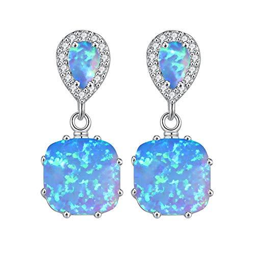 CiNily Opal Dangle Earrings- Gemstone Drop Earring Silver Plated Blue Fire Opal Zircon Women Gifts Gemstone Stud Earrings ()
