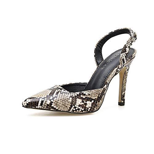 Da Alto Bocca Bassa Donna A Tacco Caviglia Scarpe Fengjingyuan Fibbia Sandali Basse Con 1 Alla Punta 5qnfSw