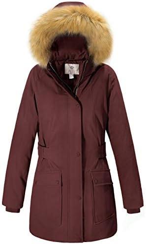 WenVen Women's Winter Military Waterproof Parka Jacket with Faux Fur Hood