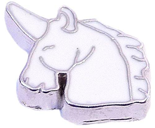 White Unicorn Floating Locket Charm ()