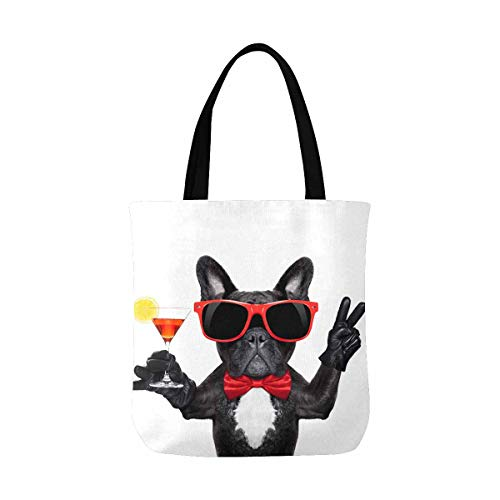 InterestPrint Funny French Bulldog Dog Holding Martini Cocktail Canvas Tote Bags Reusable Shopping Bags Grocery Bags Party Supply Bags for Women Men Kids