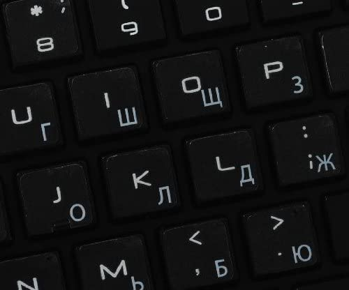 RUSSIAN CYRILLIC APPLE KEYBOARD STICKER WITH WHITE LETTERING ON TRANSPARENT BACKGROUND FOR DESKTOP LAPTOP AND NOTEBOOK