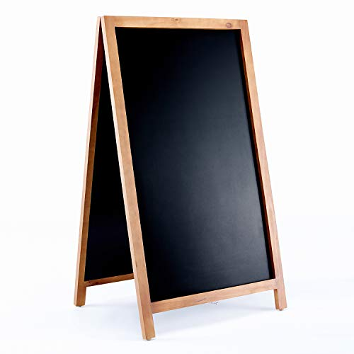 Large Magnetic A Frame Chalkboard Sandwich Sign with Rustic Wood Frame and Magnetic Blackboard Surface for Outdoor Sidewalk Board, Restaurant, Bar - 24 x 42 Inches