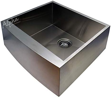 Alpha 24 Stainless Steel Apron Farmhouse Single Bowl 16 Gauge Undermount Kitchen Sink
