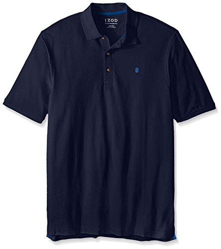 IZOD Men's Big and Tall Advantage Performance Solid Polo, Peacoat, X-Large Tall (Golf Polo Izod)