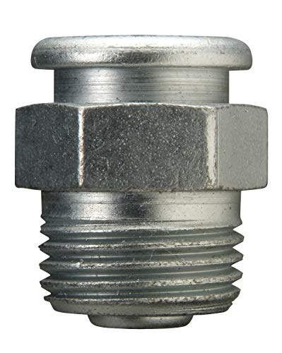 "Alemite 1820-1 Giant Button Head Fitting, 1-1/16""OAL, 1/2"" Shank Length, 15,000 PSI, 1/2"" Male NPTF"