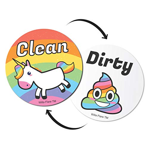 (Emoji And Unicorn Clean Dirty Dishwasher Magnet Sign   Kitchen Label For Home Organization   Funny Novelty Gag Gifts Under 10 Dollars   Double Sided (Emoji, Updated 3.5 Inch))