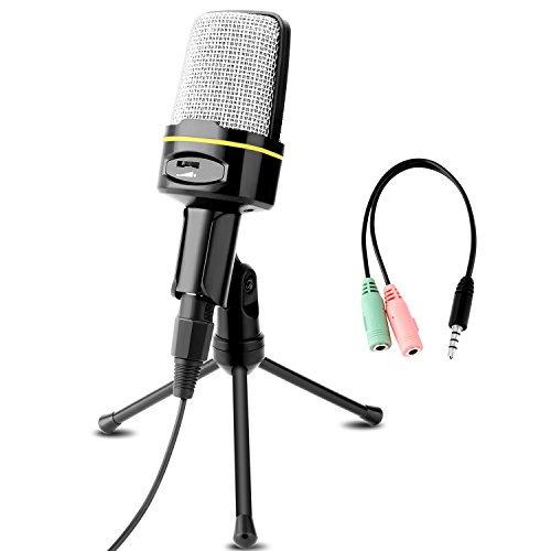 Professional Condenser Microphone, Venoro Plug & Play Home Studio Condenser Microphone with Tripod for PC, Computer, Phone for Studio Recording, Skype, Games, Podcast, Broadcasting (Black-C)