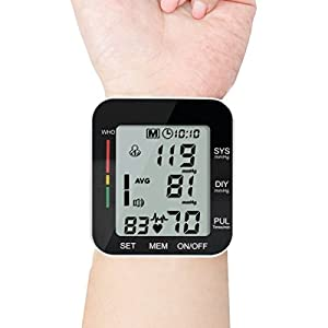 Digital Wrist Blood Pressure Monitor Cuff Portable BP Machine Clinical Automatic With LCD Display Heart Beat Monitoring for Home Use (Black)