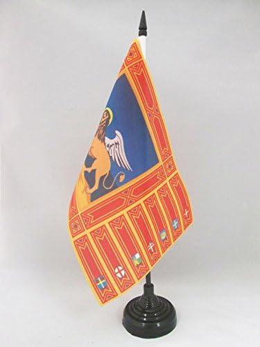 Italy Black plastic stick and base AZ FLAG Veneto Table Flag 5 x 8 Italian Region Desk Flag 21 x 14 cm