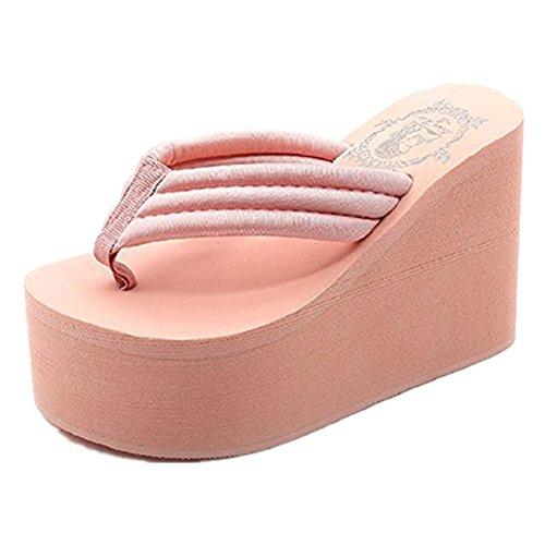 (ANBOVER Womens Wedges Flip Flops Summer Thong Beach Sandals Chunky High Platform Pink-39 )