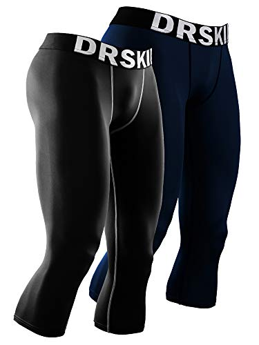 (DRSKIN 1~3 Pack Men's 3/4 Compression Tight Pants Base Under Layer Running Shorts Cool Dry (Packs of 1, 2, or 3 Deals) (Line (BG802+DNA808), XL))