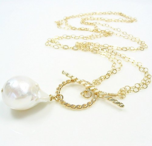 Large Baroque Cultured Freshwater Pearl Toggle Necklace 14K Gold Filled 20 Inches