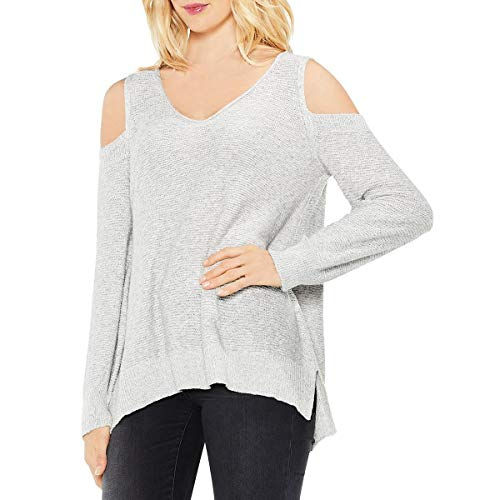 Two by Vince Camuto Womens Cold Shoulder V Neck Pullover Sweater Gray L