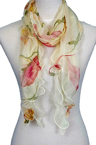Layer Scarf - Double Layer 100% Silk, Floral Ruffle Silk Scarf, Summer scarf (Beige/Red)