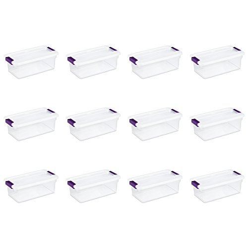 Sterilite 17511712 6 Quart/5.7 Liter ClearView Latch Box, Clear with Sweet Plum Latches, 12-Pack]()