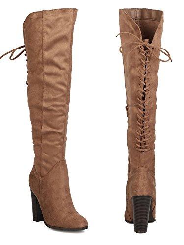 Womens Flat Pirate Boots (Pirate Over the Knee Block Heel Women's Vegan Suede Boot)