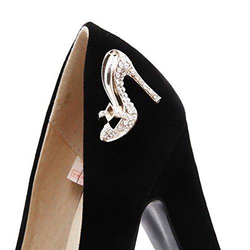 AllhqFashion Mujeres Tacón ancho Tachonado Sin cordones Puntera Redonda De salón con Diamante Negro