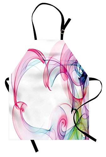 Lunarable Abstract Apron, Colorful Smock Artwork Contemporary Style with Futuristic Influences Print, Unisex Kitchen Bib Apron with Adjustable Neck for Cooking Baking Gardening, Pink Blue Green ()