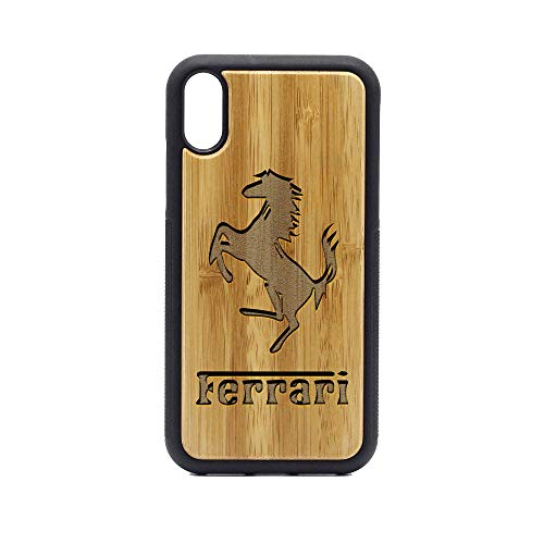 Logo Ferrari Emblem - iPhone XR Case - Bamboo Premium Slim & Lightweight Traveler Wooden Protective Phone Case - Unique, Stylish & Eco-Friendly - Designed for iPhone XR