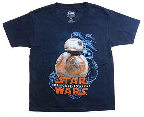 Star Wars The Force Awakens BB-8 Youth Navy Blue T-Shirt, Large ()