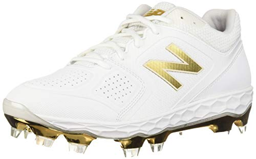 New Balance Women's Velo V1 Molded Baseball Shoe, White/Gold, 7 B US