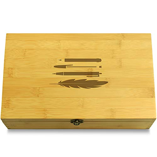Cookbook People Pens (Repeat Pattern) Pens and Markers Multikeep Box - Gift Wood Adjustable Organizer by Cookbook People