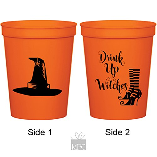 Halloween Orange Plastic Stadium Cups - Drink Up Witches (10 cups)