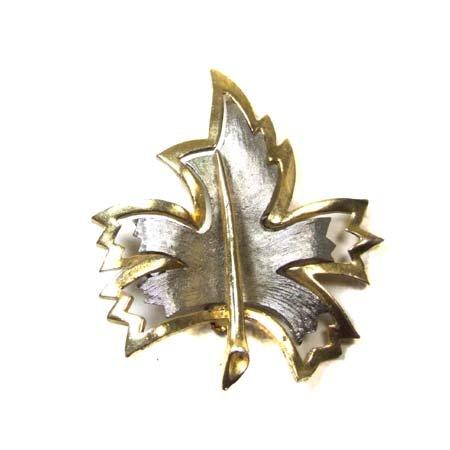 Black Market Antiques Figural Silver Tone Leaf Brooch - Silver Tone Figural